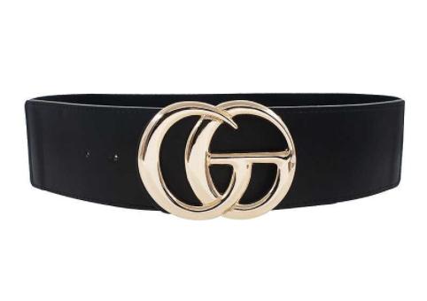!1 1/4 inch Black Golden Fashion Belt