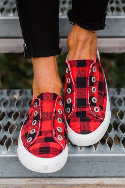 Blowfish Red Buffalo Plaid Canvas
