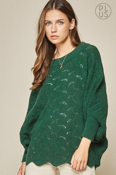 Cozy Dolman Sweater in Kelly Green