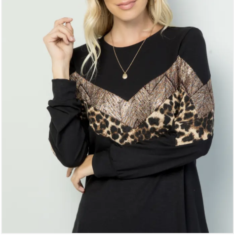 Ivory or Black Long Sleeve Top with Leopard Print Detail