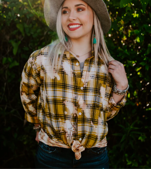 Mustard Bleached Plaid Button Up Top