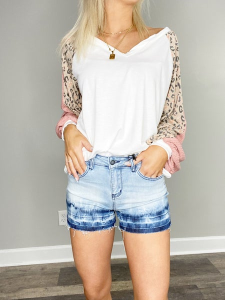 White Birch Puff Sleeve Top with Leopard Trim