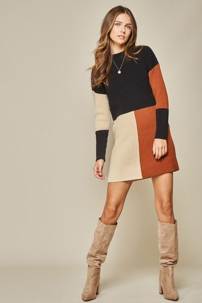 Fall Inspired Colorblock Sweater Dress