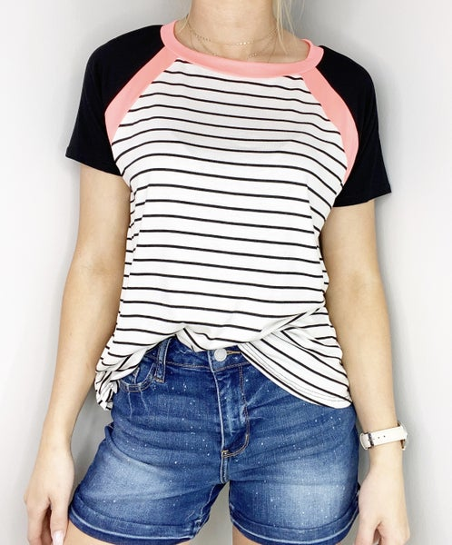 SMALL ONLY Black and Coral Top
