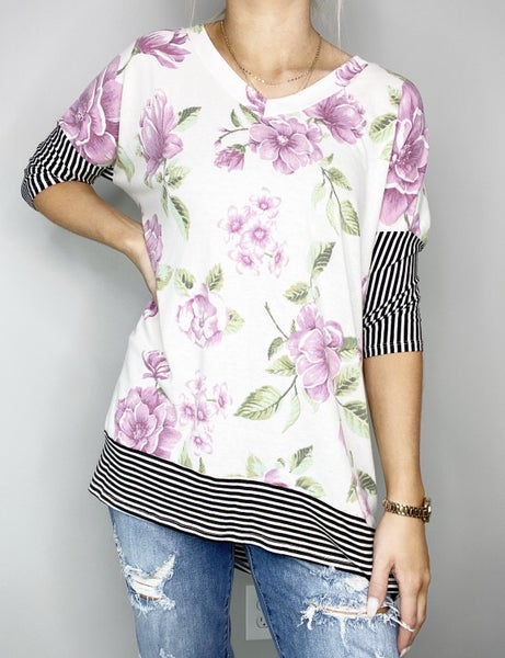 HoneyMe Ivory and Pink Top