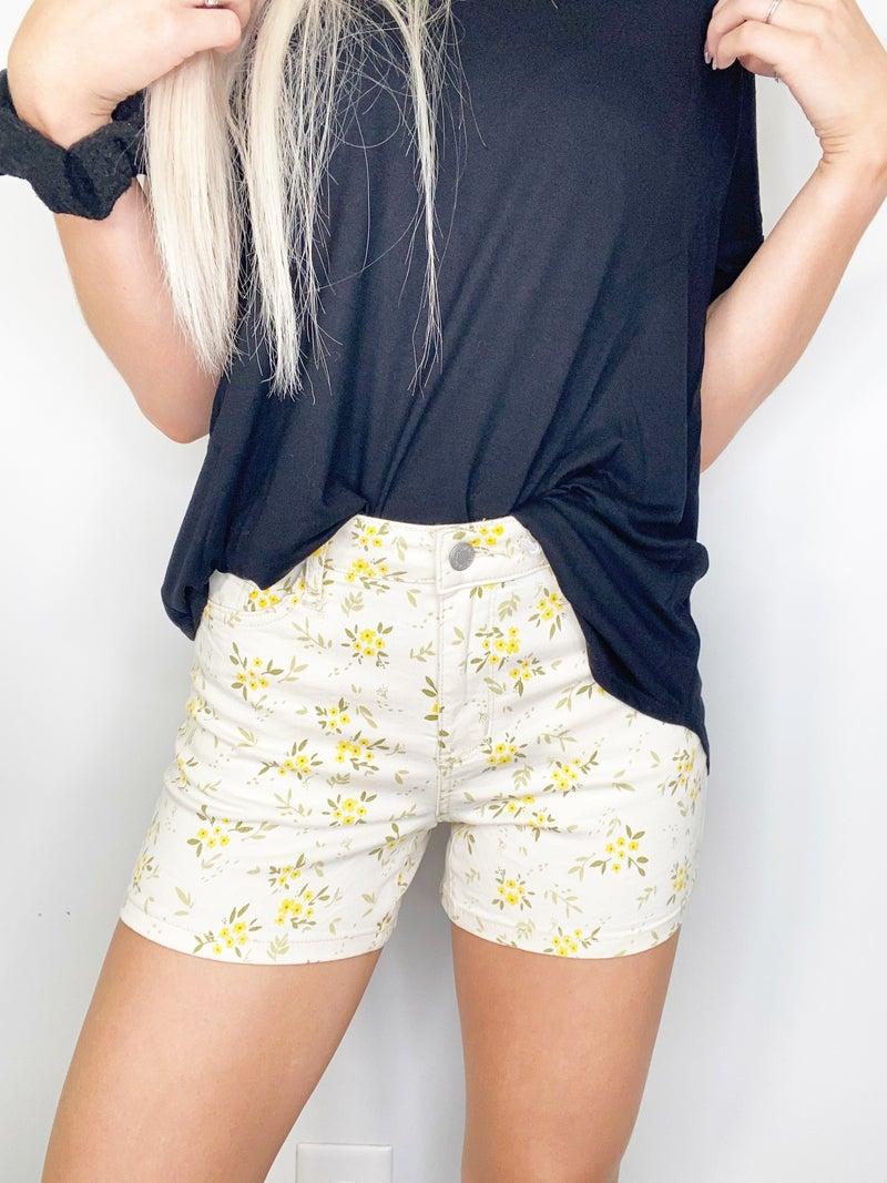 Judy Blue Yellow Flower Print Shorts