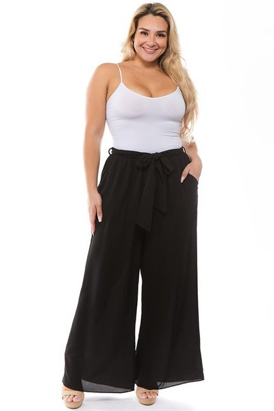 Lined Palazzo Pants with Belt in Black