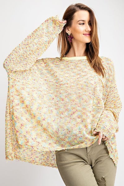 Crop Pullover Sweater in Yellow