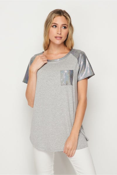 HoneyMe Gray Top with Silver Detailing
