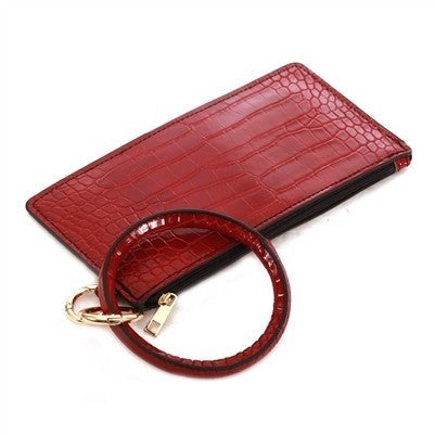 Leather Red Printed Key Ring with Wallet Attachment