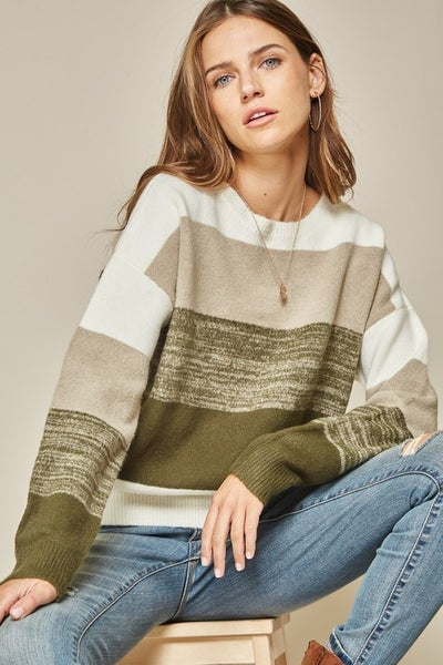 Olive Color Block Sweater