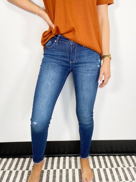 Kancan Dark Wash Mid Rise Skinny Jeans