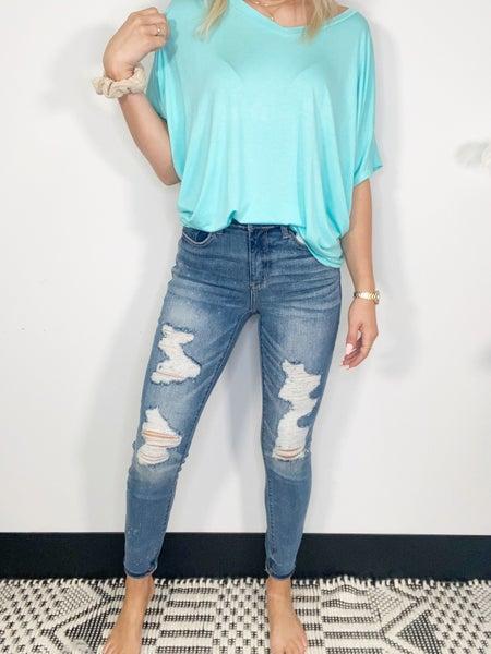 Judy Blue Mid Rise Skinny Destroyed Bleach Splatter Jeans