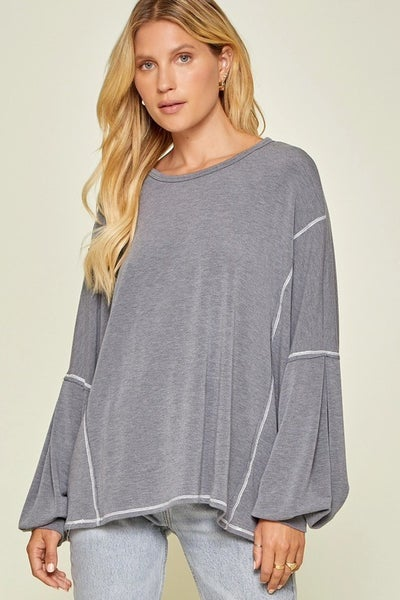 Charcoal Balloon Sleeve Top with Stitching Detail and Chevron Layered Back