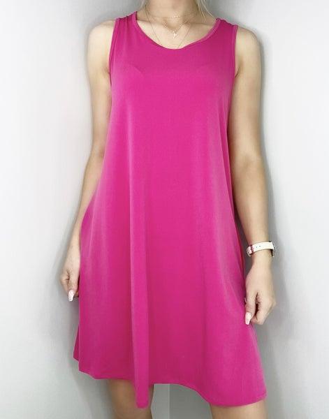 Fuchsia Sleeveless ITY Swing Dress