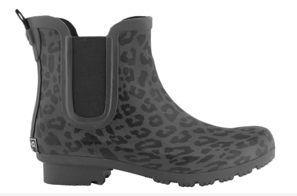Chelsea Gray Matte Leopard Rain boots