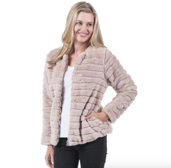 Faux Fur Rabbit Jacket in Cream, Brown, or Black