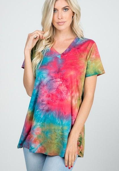 V-Neck Hippy Tie Dye Top