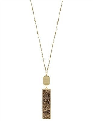 """Gold Rectangle and Brown Snake Print 34"""" Necklace"""