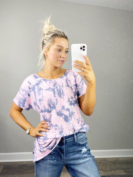 3XL ONLY - Denim and Pink Tie Dye Top