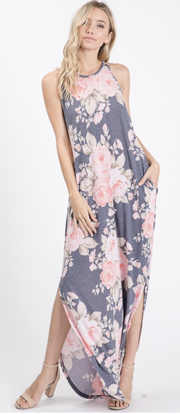 SMALL ONLY Sleeveless Denim Floral Maxi Dress