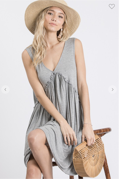 HEATHER GREY DRESS WITH RUFFLED DETAIL