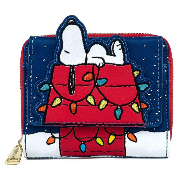 !LOUNGEFLY X PEANUTS HOLIDAY SNOOPY HOUSE ZIP AROUND WALLET