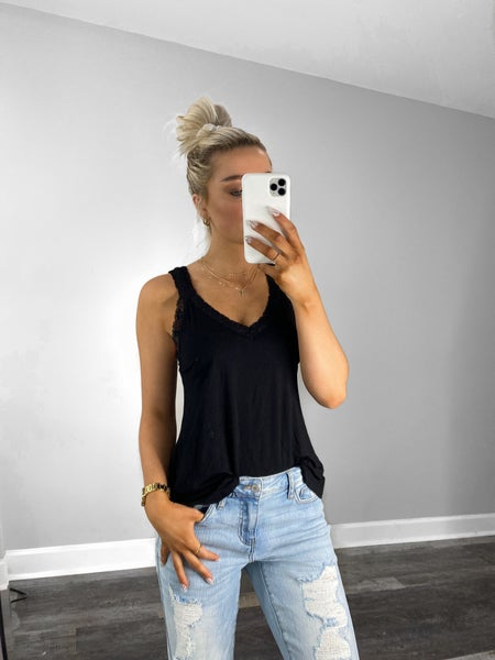SMALL ONLY - Black Scallop Lace Trim Tank Top with Bra Strap