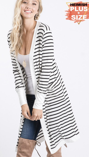 !Ivory & Black Stripe Cardigan