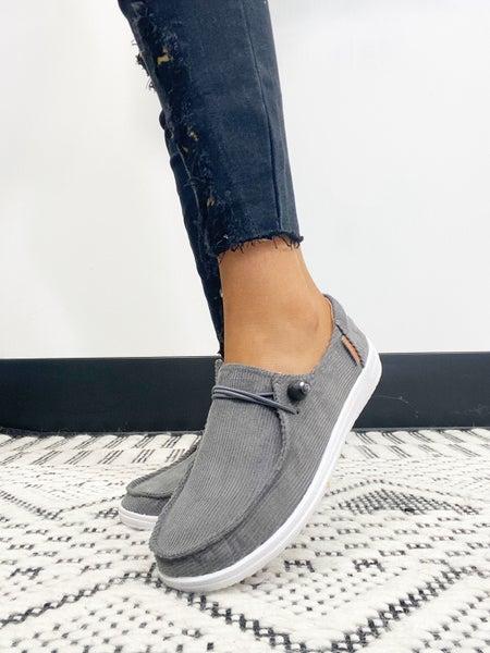 Corkys Kayak Gray Corduroy Slip On Sneaker