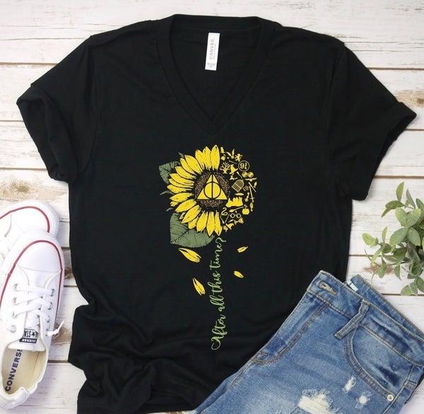 Harry Potter Sunflower V-Neck Graphic Tee