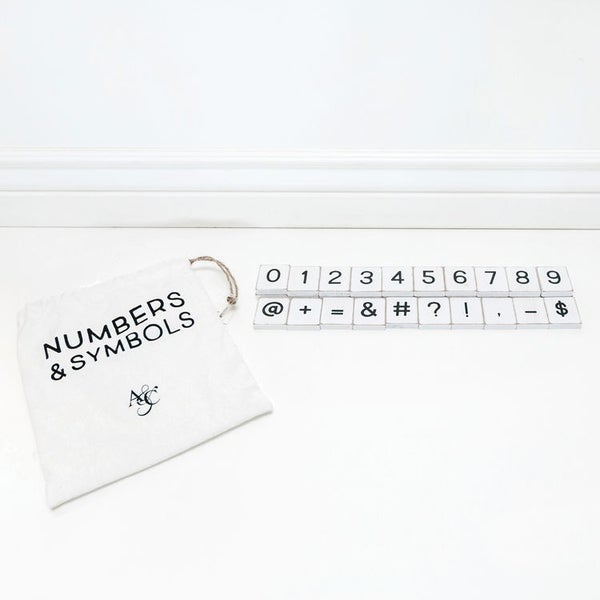Letterboard Numbers & Symbols - White