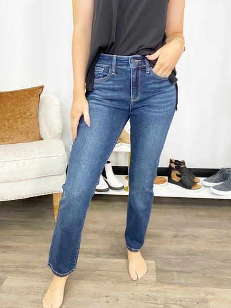 Judy Blue Dark Wash Mid Rise Straight Leg Jeans