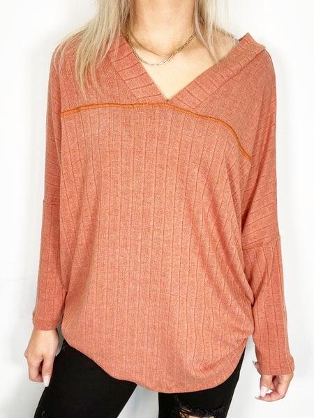 Soft Rib Knit V-Neck Dolman Top in Rust