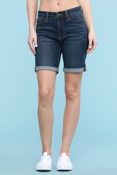 Judy Blue Dark Wash Cuffed Bermuda