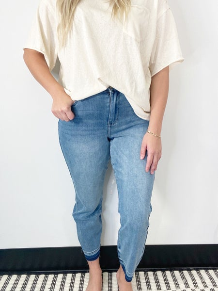 Judy Blue THERMAdenim Undone Hem Boyfriend Jeans