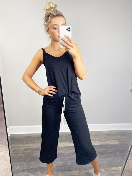 SMALL ONLY - Sleeveless Top and Capri Pajama Set in Black