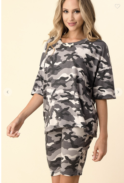 SMALL ONLY - Gray Camo Oversized Top with Matching Camo Bermuda Shorts