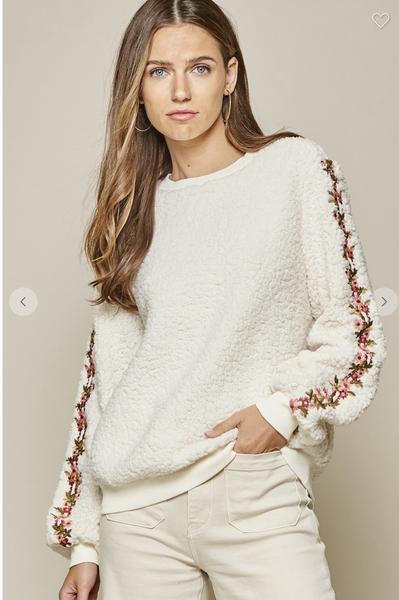Cream Long Sleeve Sherpa Pullover