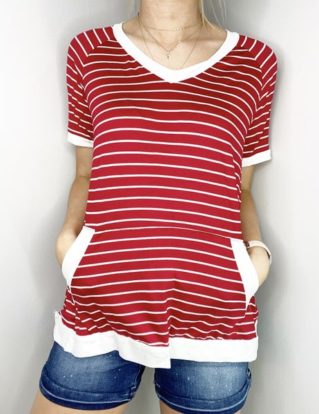 SM & MED ONLY Red and Ivory V-Neck Top with Kangaroo Pocket