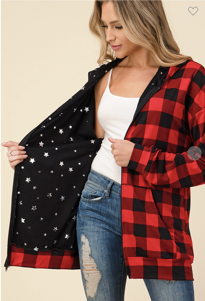 MED ONLY - Red Plaid Zip Up Hoodie