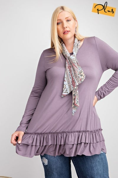 Sass and Ruffle Tunic ***Multiple Colors*** Curvy Only