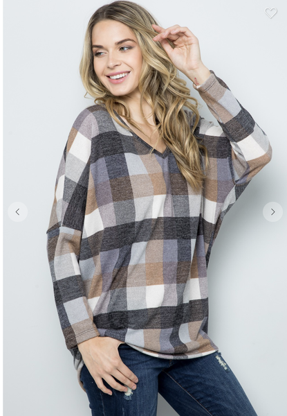 Brown Plaid Knit Dolman