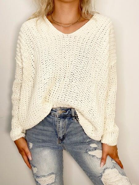 Ivory V-Neckline Solid Sweater
