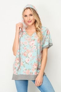 HoneyMe Floral Short Sleeve Hoodie with Striped Detail