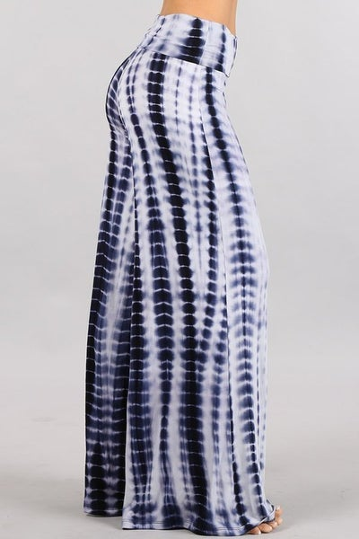 SMALL & LARGE ONLY- Navy and White Tie Dye Wide Leg Palazzo Pants