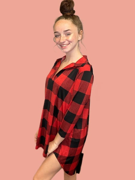 Black and Red Buffalo Plaid Dressy V-Neck with 3/4 Length Sleeves