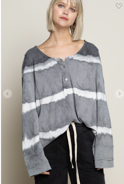 SM & MED ONLY-Long Sleeve Gray Stripe Knit Top