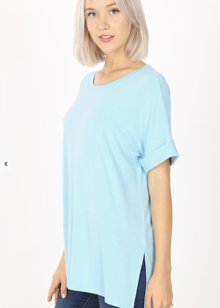Rolled Sleeve Crew Neck Tee Side Slits High Low Hem***MULTIPLE COLORS***