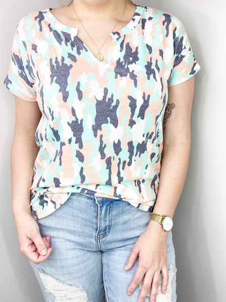 SM & MED ONLY Mint and Coral V-Neck Top